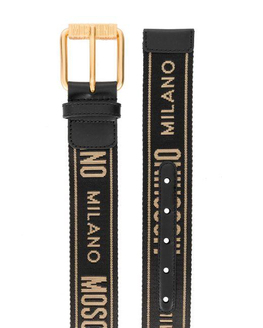 メンズ Moschino ロゴ ベルト Black