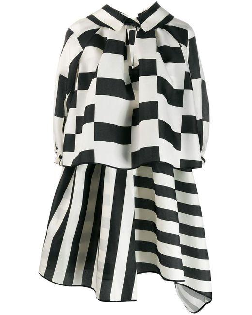 Robe courte à design superposé Dice Kayek en coloris White