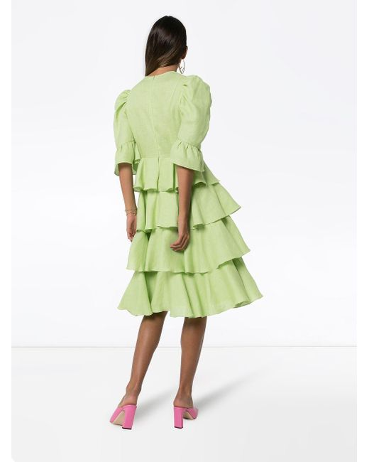 BATSHEVA ラッフル ドレス Green