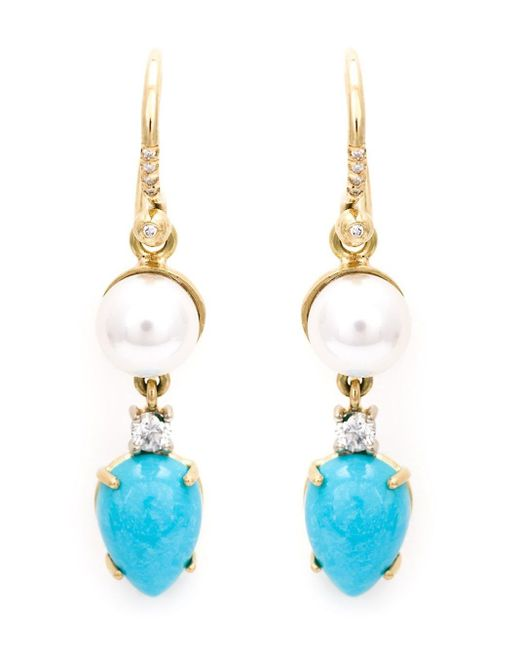 Irene Neuwirth Blue Turquoise And Pearl Drop Earrings
