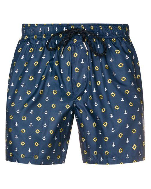Short de bain imprimé à lien de resserrage Fefe pour homme en coloris Blue
