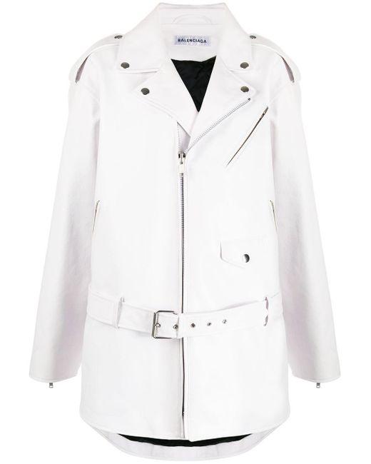Balenciaga オーバーサイズ ライダースジャケット White