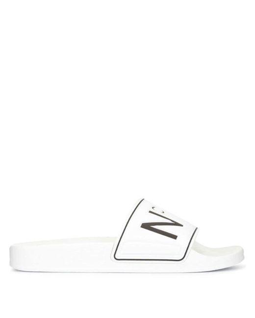 メンズ N°21 ロゴ オープントゥ サンダル White
