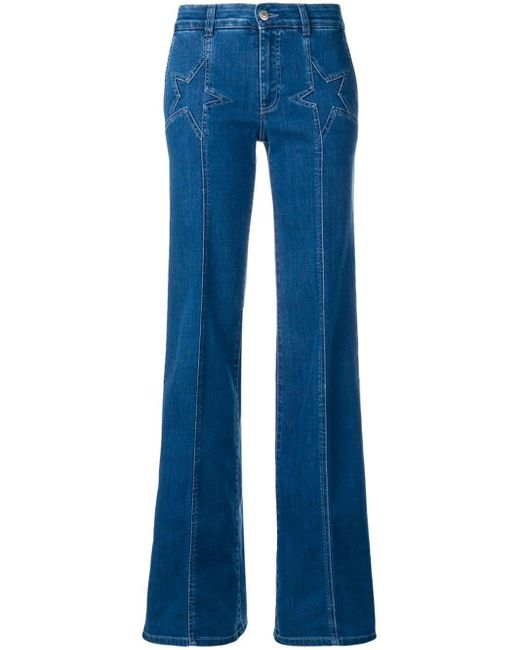 Stella McCartney Blue Star Detail Flared Jeans