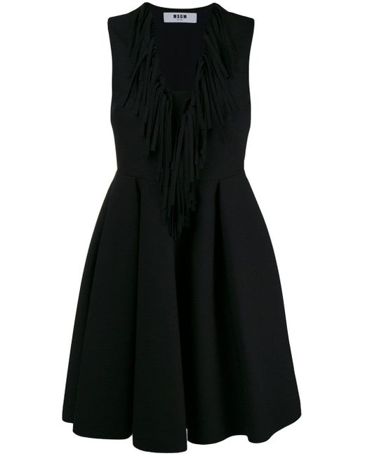 MSGM Fringed V-neck Flared Dress Black