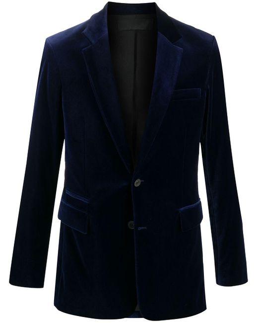 メンズ Haider Ackermann ベルベット シングルジャケット Blue