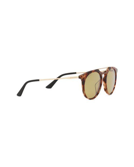 ecf78ee602 ... Gucci - Brown Gafas de sol de acetato con montura redonda for Men - Lyst  ...