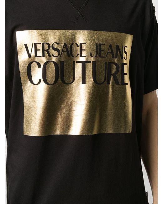 Футболка С Логотипом Versace Jeans для него, цвет: Black