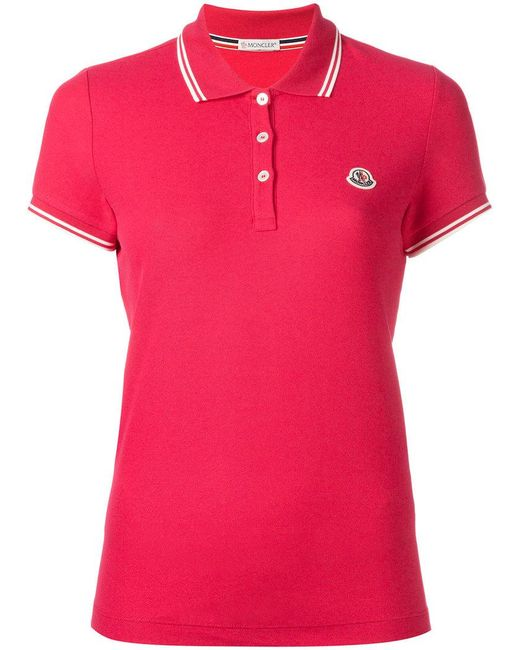 Moncler polo tee in pink save 7 lyst for Moncler polo shirt sale
