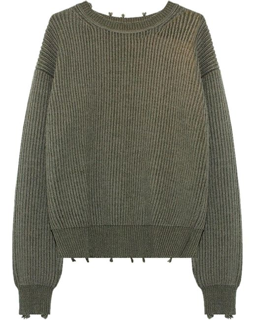 John Elliott Gray Ribbed-knit Crew Neck Jumper for men