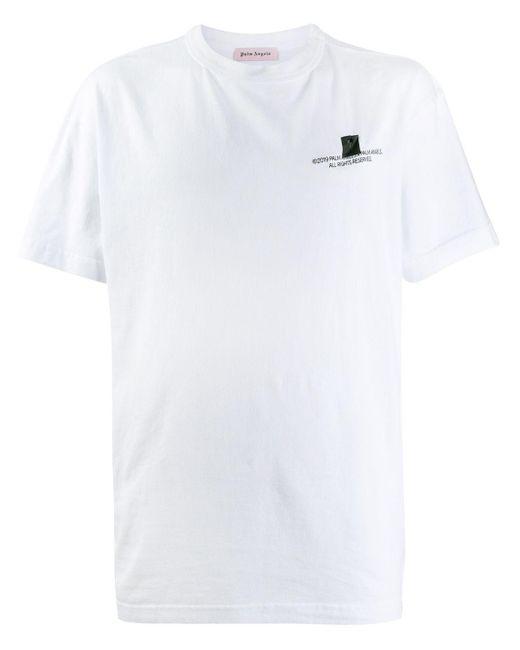 メンズ Palm Angels ロゴプリント Tシャツ White