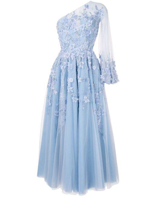 Saiid Kobeisy フローラル ドレス Blue