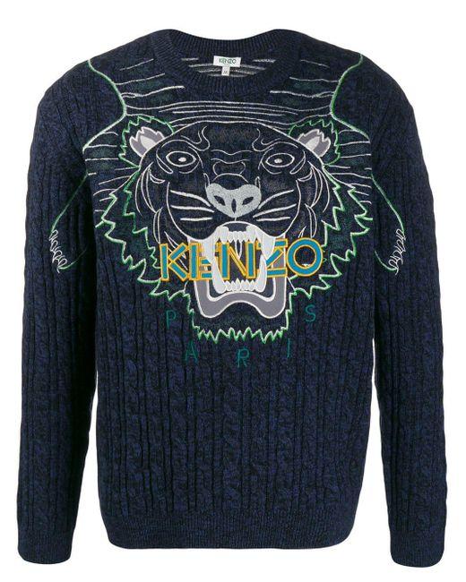 メンズ KENZO ネイビー エンブロイダリー Claw タイガー セーター Blue