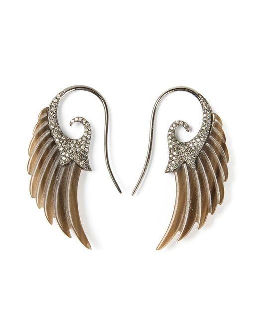 Noor Fares | Brown Diamond Wing Earrings | Lyst