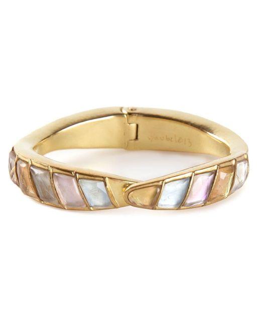 Vaubel Multicolor 14kt Gold Stone Hinged Bangle