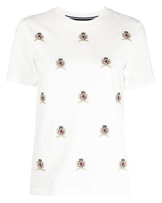 Tommy Hilfiger White Besticktes T-Shirt