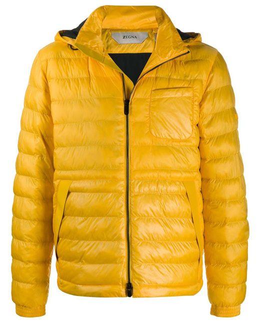 メンズ Z Zegna キルティング フーデッドジャケット Yellow