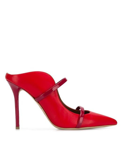 Malone Souliers ストラップ ミュール Red