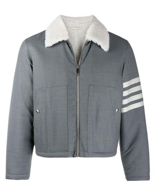 メンズ Thom Browne ミディアムグレー シャーリングライニング ウール フライトジャケット Gray