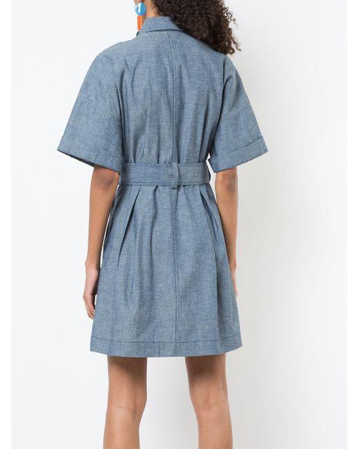 Robe Ceinturée Chambray - Diane Bleu Par Frstenberg fiTwj2P3nR