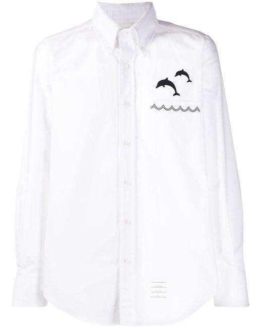 メンズ Thom Browne ホワイト オックスフォード ジャンピングドルフィンエンブロイダリー シャツ White