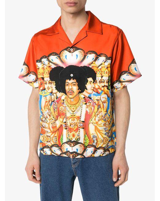 Amiri Hemd mit Jimi-Hendrix-Print in Orange für Herren