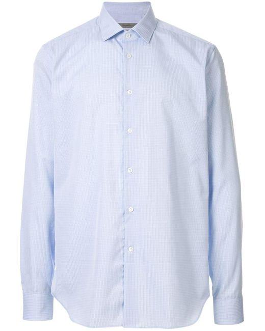 メンズ Corneliani チェックシャツ Blue