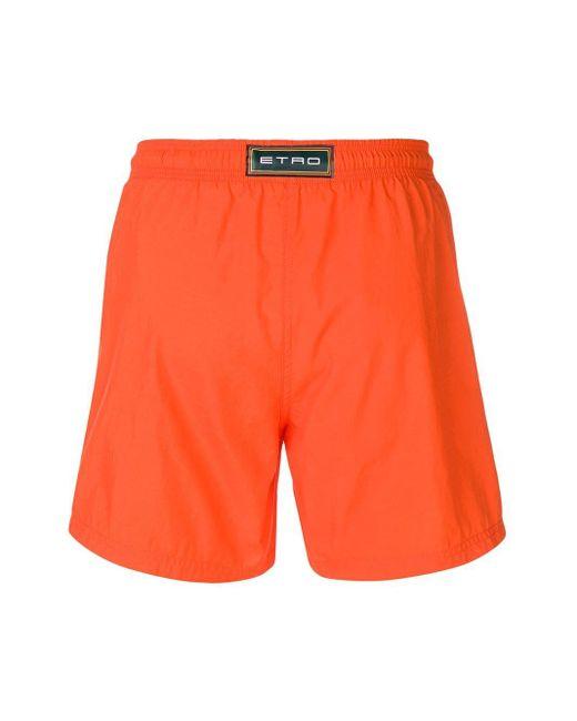 メンズ Etro ドローストリング トランクス水着 Orange