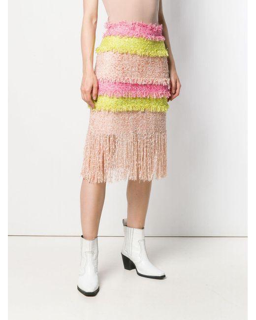 MSGM カラーブロック ツイードスカート Pink