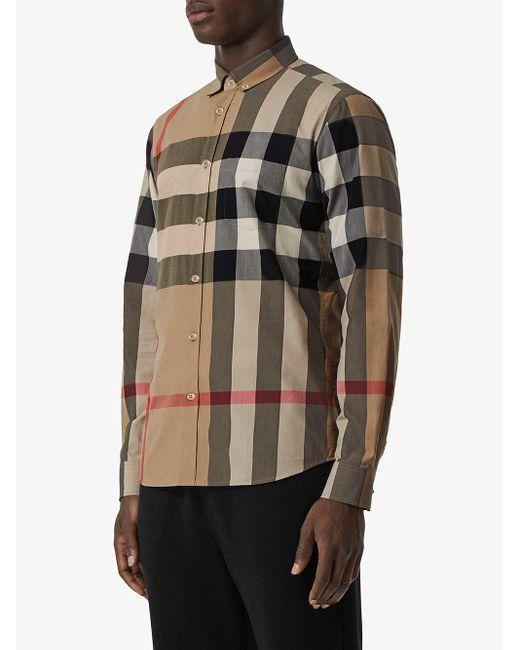 Camicia a quadri oversize di Burberry in Multicolor da Uomo