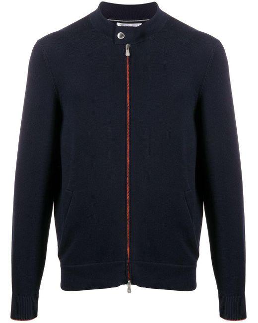 メンズ Brunello Cucinelli ボタンネック ジップ セーター Blue