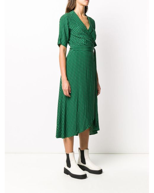 Ganni プリント ラップドレス Green