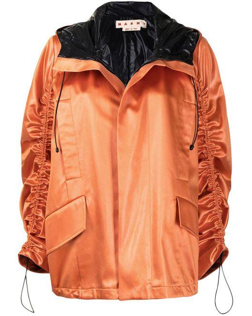 Marni サテン フーデッド ジャケット Orange