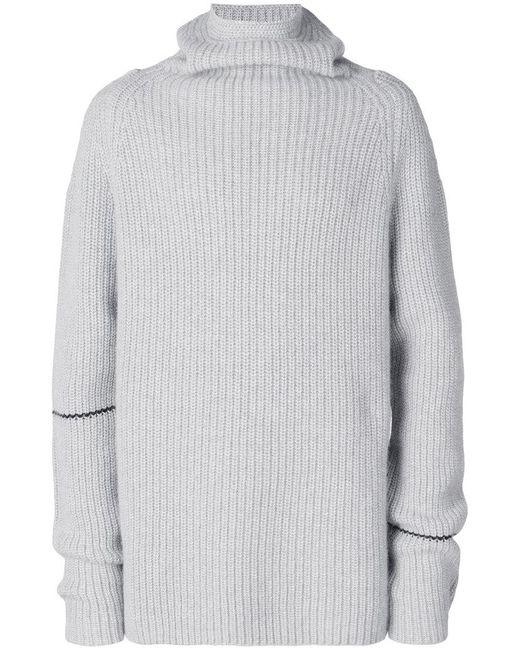 Lost and Found Rooms - Gray Ribbed Roll Neck Sweater for Men - Lyst