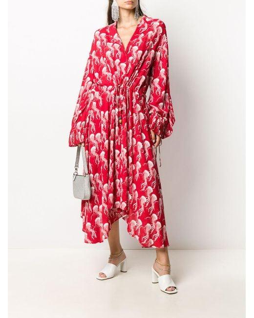 N°21 プリント マキシドレス Red