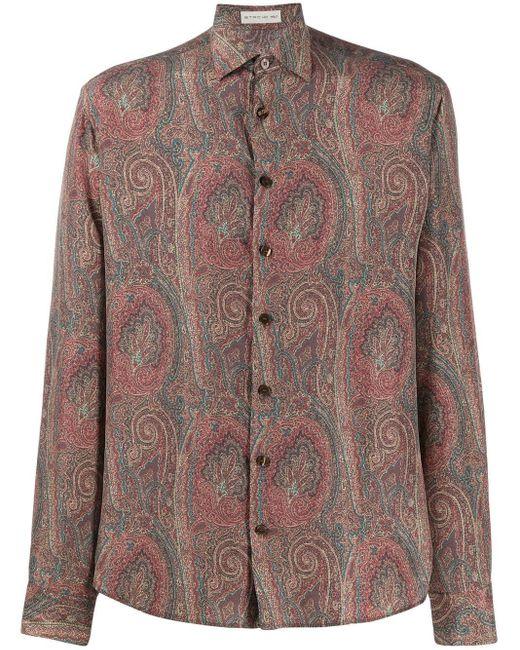 Рубашка С Длинными Рукавами И Принтом Пейсли Etro для него, цвет: Brown