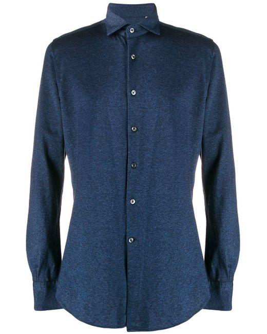 メンズ Glanshirt ロングスリーブ シャツ Blue