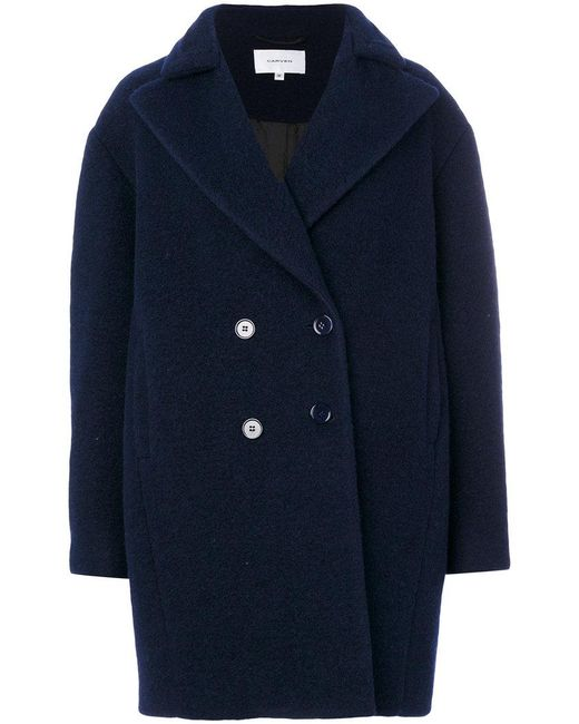 Carven | Blue Oversized Double-breasted Coat | Lyst