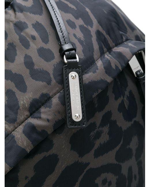 9cf3d66ecfad Saint Laurent - Black Foldable City Backpack In Leopard Print Nylon for Men  ...
