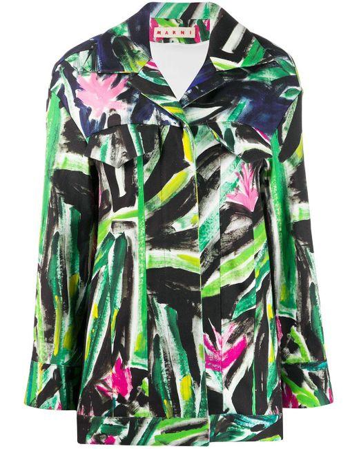 Marni Green Graphic Print Shirt