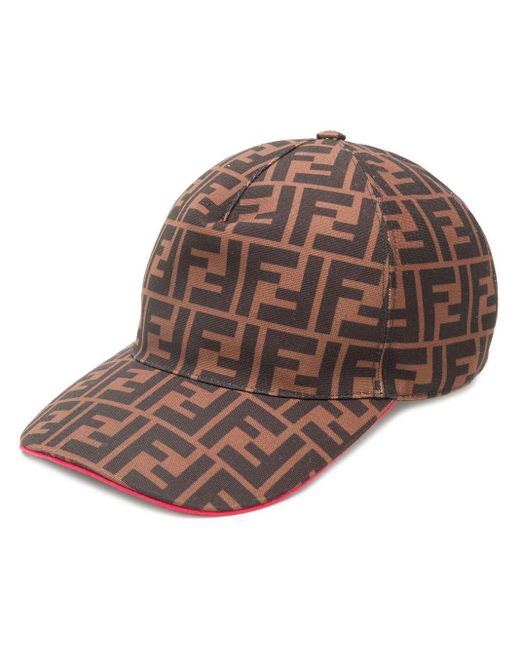 900612d4d9ab Fendi Logo Baseball Cap in Brown for Men - Lyst