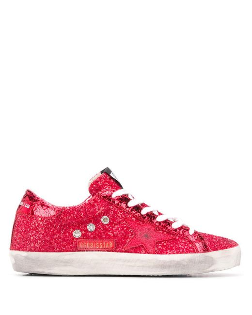 Кеды Superstar С Блестками Golden Goose Deluxe Brand, цвет: Red