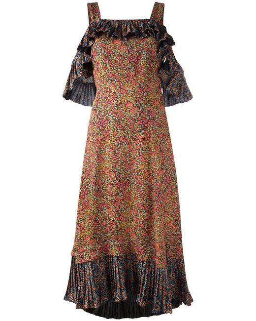 Philosophy Di Lorenzo Serafini   Black Pleated Ruffle Dress   Lyst