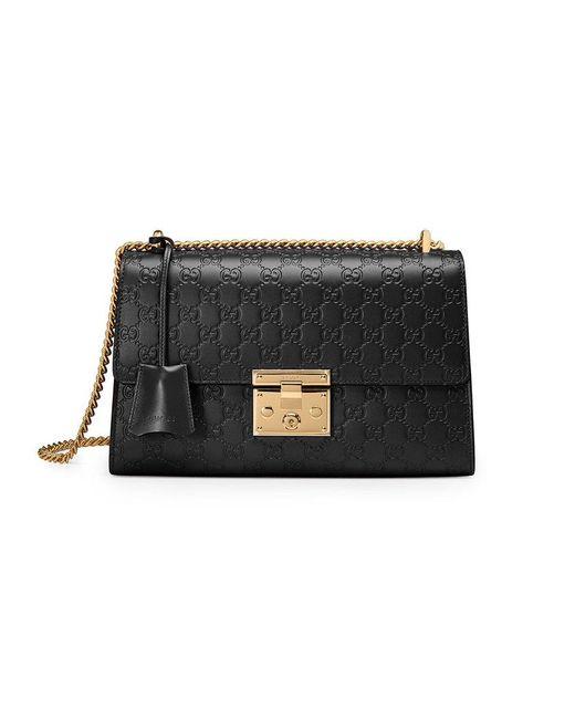 Gucci - Black Padlock Signature Shoulder Bag - Lyst