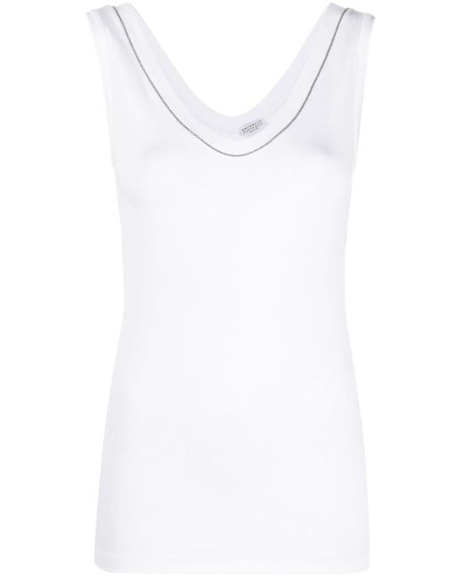 Топ Без Рукавов С Кристаллами Brunello Cucinelli, цвет: White