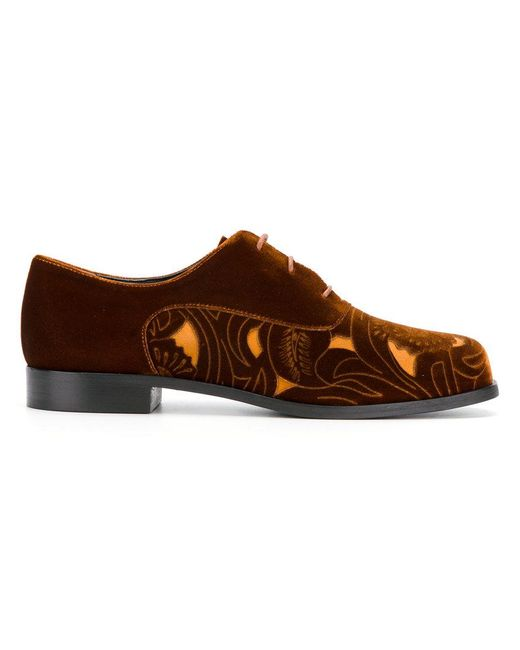 Emporio Armani | Brown Cut-out Panel Lace-up Shoes for Men | Lyst