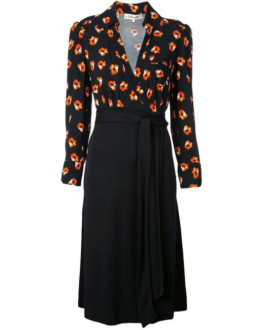 Diane von Furstenberg Black Floral Print Wrap Dress