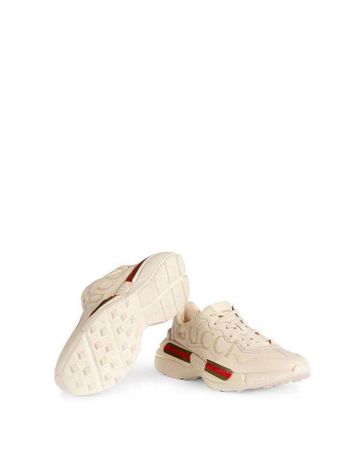 Gucci Rhyton Sneaker Van Leer in het White voor heren
