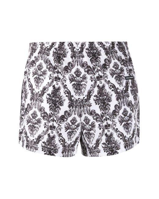 Dolce & Gabbana Men's White Paisley Print Swim Shorts