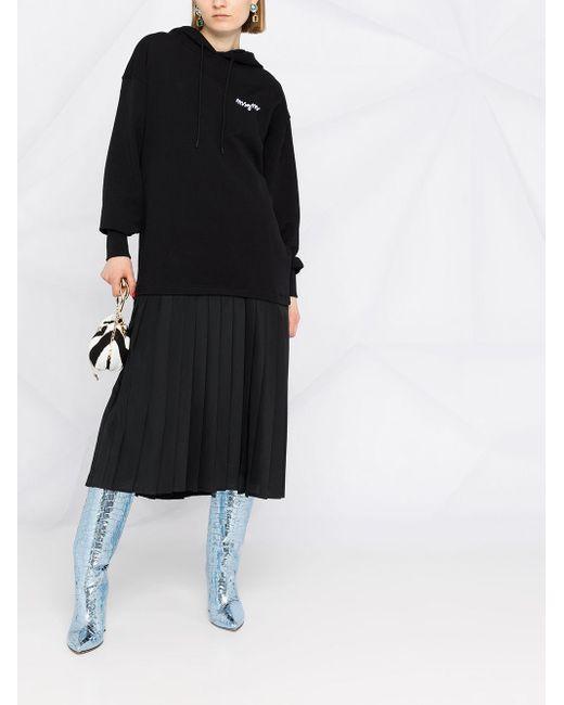 MSGM プリーツ フーデッドドレス Black